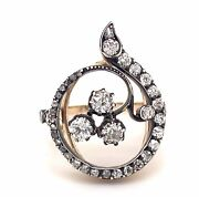 Antique Victorian French Diamonds Silver 18k Yellow Gold Ring
