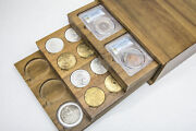 Wooden Storage Box With 5pcs Display Tray Handmade For Ngc Pcgs Slab Coin Holder