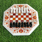 Chess Set With Board Marble Inlay Carnelian Side Table Premium Vintage Game Gift