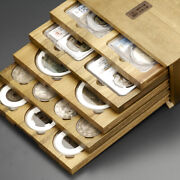 New Wooden Storage Box With 5pcs Display Tray Handmade Ngc Pcgs Slab Coin Holder