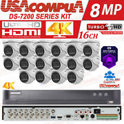 Hikvision 8mp 4k Security System 16ch Kit 4k Dvr 6tb Hdd With 16 X 4k Cameras