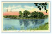 1947 Greetings From Crystal Beach Coldwater Michigan Mi Vintage Postcard