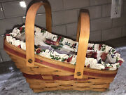 Longaberger 1991 Yuletide Traditions Vegetable Basket With Liner And Protector