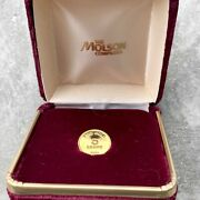 5 Gram Vintage Molson Canada Beer Gold Bar Round .999 - With Box