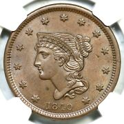 1840 N-3 Ngc Ms 64 Bn Sm Date Braided Hair Large Cent Coin 1c