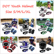 Sxl Dot Youth Kids Dirt Bike Atv Helmet And Goggles Gloves Offroad Motorcycle