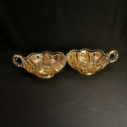 Imperial Glass Chamberstick Candle Holder Bowl Nucut Style Clear Gold 1974-1976