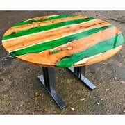 48 Epoxy Resin Round Coffee Center Table Top Resin Wooden Furniture