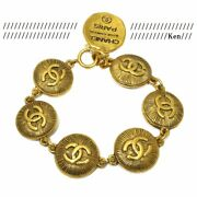 Bracelet Bangle Chain Auth Rare Gold Vintage 31 Rue Cambon Coin Medal F/s