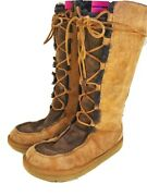 Ugg Boots Whitley 5230 Women's Size 7 Brown Leather Tall Winter Boots Shoes