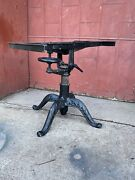 1900s Industrial Cranking Cast Iron Drafting Table Desk Study Kitchen Island