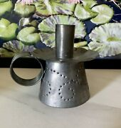 Antique Primitive Tin Fluted Chamber Candle Holder Punched With Handle 5