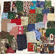 5 Lb Lot Of Quilting Christmas Cotton Fabric Scraps Strips Remnants Crafts