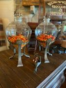 Antique Pair - General Store/ Pharmacy Apothecary Jars W/ Stands- For Absynthe