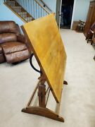 Antique Reclinable Drafting Table Iron Fittings Heavy Solid Oak Base/stand