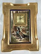 Antique Fraunfelter Hand Painted Porcelain New Haven Wall Clock Pheasants Signed