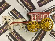 Vintage Heavy Cast Iron Horse Drawn Ice Buggy - Red And Yellow Wagon