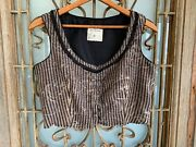 Nwot Gary Graham Ny Hand Printed Striped Crop Top Vest Size 10