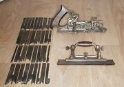 Rare Vintage Stanley No 55 Combination Plane And 36 Cutters / Blades