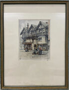 Hans Figura Hand Colored And Signed Etching In Old Chester England