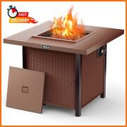 Outdoor Propane Fire Pit Patio Gas Table 28 Square Wicker-look 50000 Btu Gfp01y