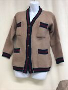 Rare Vintage Cardigan 1950s Iconic Green Red Stripe Beige Leather Buttons