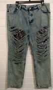 Plus Woman Alice And You Jeans Pants Sequined Anddistressed Denim Size 22 100cotton