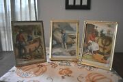 3 Vintage Picture Frames W/ Antique Swiss Family Robinbon Book Pages