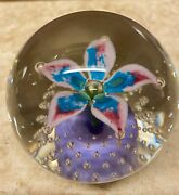 Wheaton Village Nj Art Glass Floral Paperweight Signed