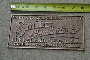 Antique Brass Advetising Sign Plaque The Smith Incubator Corp Cleveland Ohio