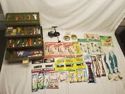 Vintage Old Pal Woodstream Tackle Box With Nos Fishing Lures Etc. Lot + Reel