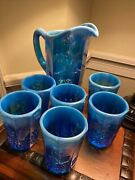 Electric Blue Opalescent Westmoreland Carnival Glass Pitcher W/ 6 Tumblers Rare
