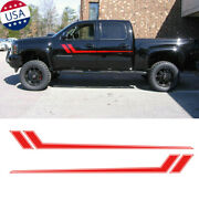 2x Red Sport Racing Car Side Body Fender Sticker Universal For Chevy Ram Ford