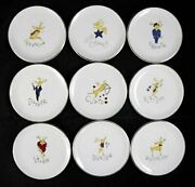 9 Piece Set Pottery Barn Reindeer Coasters / Butter Plates -- Includes Rudolph