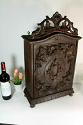 Antique German Black Forest Wood Carved Herbs Wall Cabinet Kitchen Rare 19thc