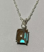 Antique Vintage Saphiret Faceted Buff Top 10x8mm On 18andrdquo 925 Silver Chain