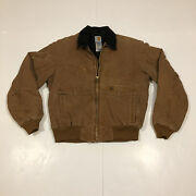 Menandrsquos Work Coat Duck Brown Canvas Corduroy Collar Quilt Lined Size Larg