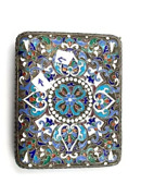 Antique Russian Enameled Sterling Silver Cigar Case