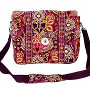 Vera Bradley Floral Quilted Vibrant Messenger Book Bag Silver Clasp Large