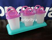 Tupperware Ice Tups Popsicles Maker Mold Purple Teal White Set New In Package