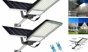 2 Pack 150w Led Solar Street Lights Outdoor Dusk To Dawn With Light 2pcs-150w
