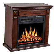 26'' Mantel Electric Fireplace Heater Small Freestanding Infrared Quartz Brown