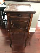 Antique Victorian Humidor Nightstand Table Lamp Stand Wood Marble Top Furniture