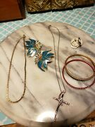 Working Jewelry Vintage Estate Antique Ring Earrings Necklace Lot 7