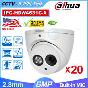 20 Pcsdahua 6mp Ipc-hdw4631c-a Built-in Mic Poe 2.8mm Turret Security Ip Camera