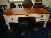 Reclaimed Antique Wood Handmade Plank Top Desk 4 Deep Drawers Distressed White