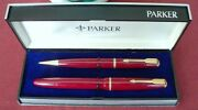 Parker Victory Fountain Pen And Pencil, In Red England, Extrem Rare In Box