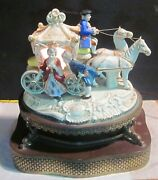 Antique Capodimonte Attributed Cinderella Horse Carriage Coach Table Lamp. Works