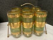 Culver Style Starlyte Mid Century Tall Soda Glasses Green Gold With Carrier