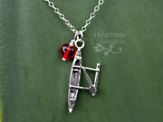 Love To Paddle Necklace –sterling Silver Hawaiian Outrigger Charm And Heart- Ocean